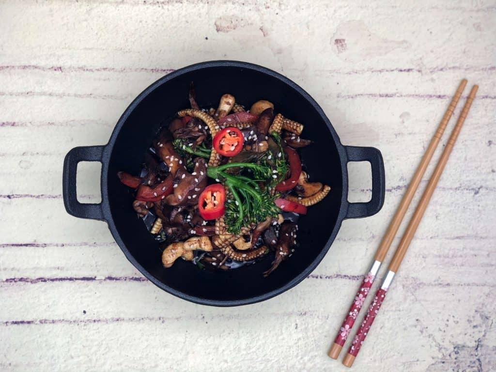 Lovely vegetable stir fry with a pair of chopsticks