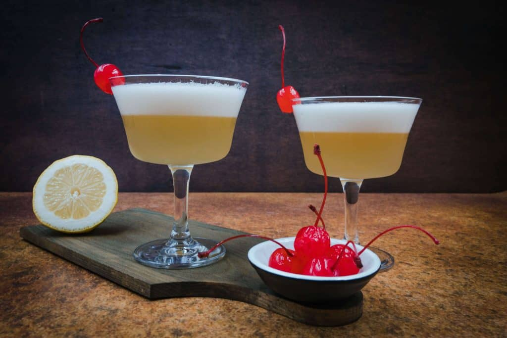 Delicious and refreshing homemade whiskey sour mocktails ready to drink