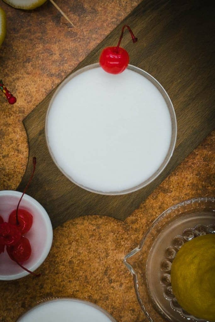 Alcohol free whiskey sour with a frothy top