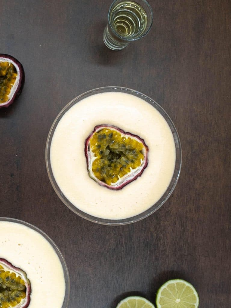 Non alcoholic version of passion fruit martini cocktail drinks with alcohol free champagne