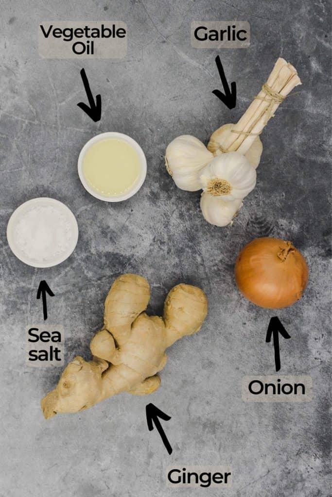 ingredients for homemade ginger garlic paste