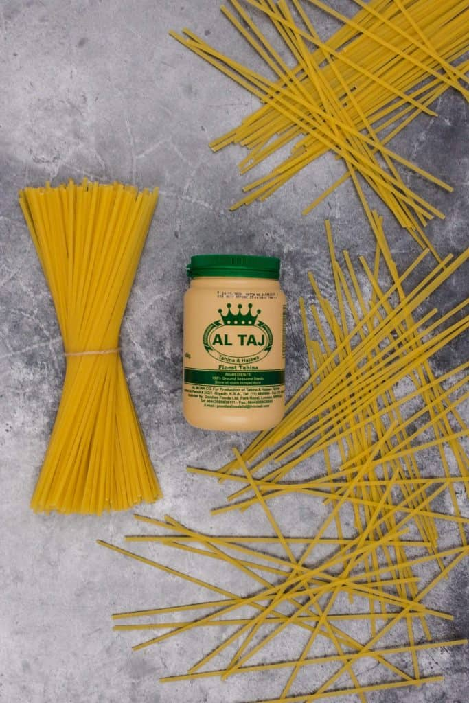 Tahini from the Middle East and pasta