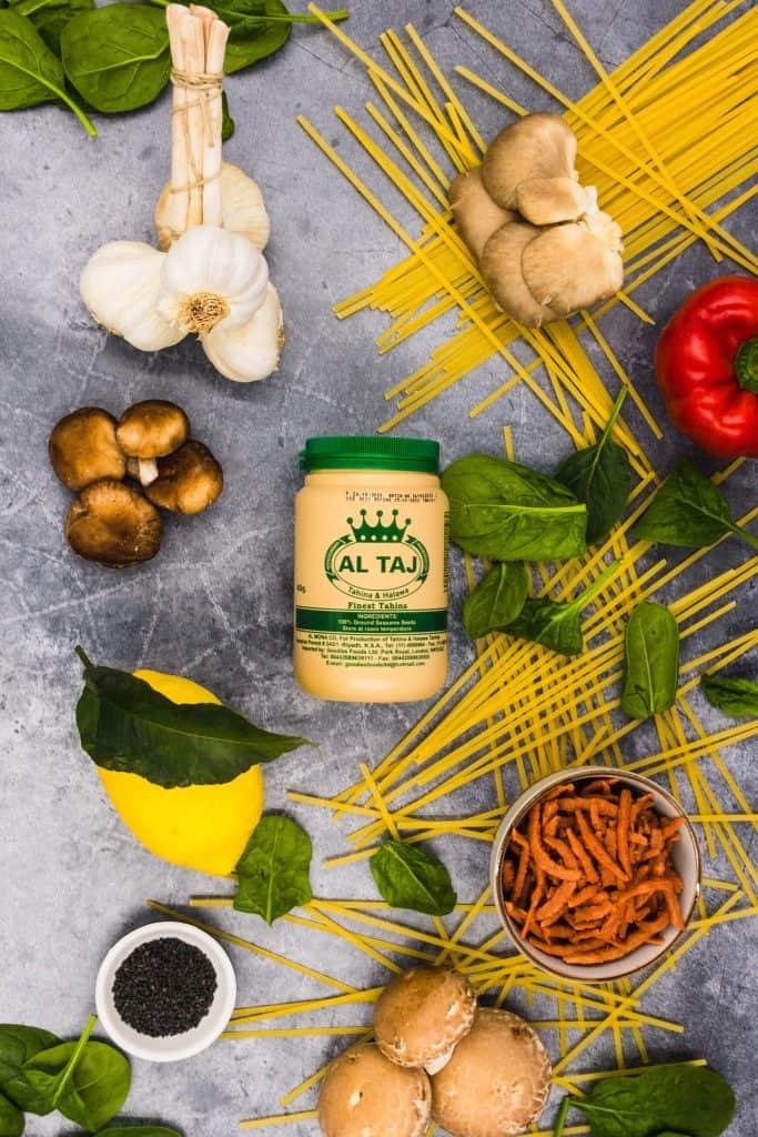 Tahini and ingredients for pasta tahini