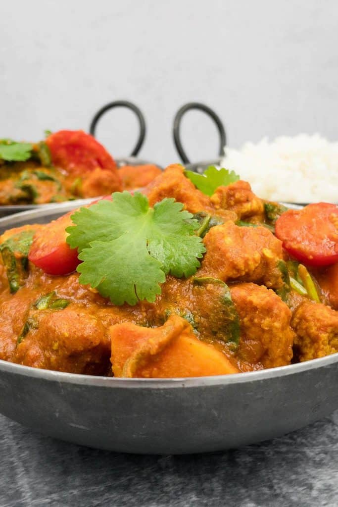 Just out of the pan, vegan bhuna curry