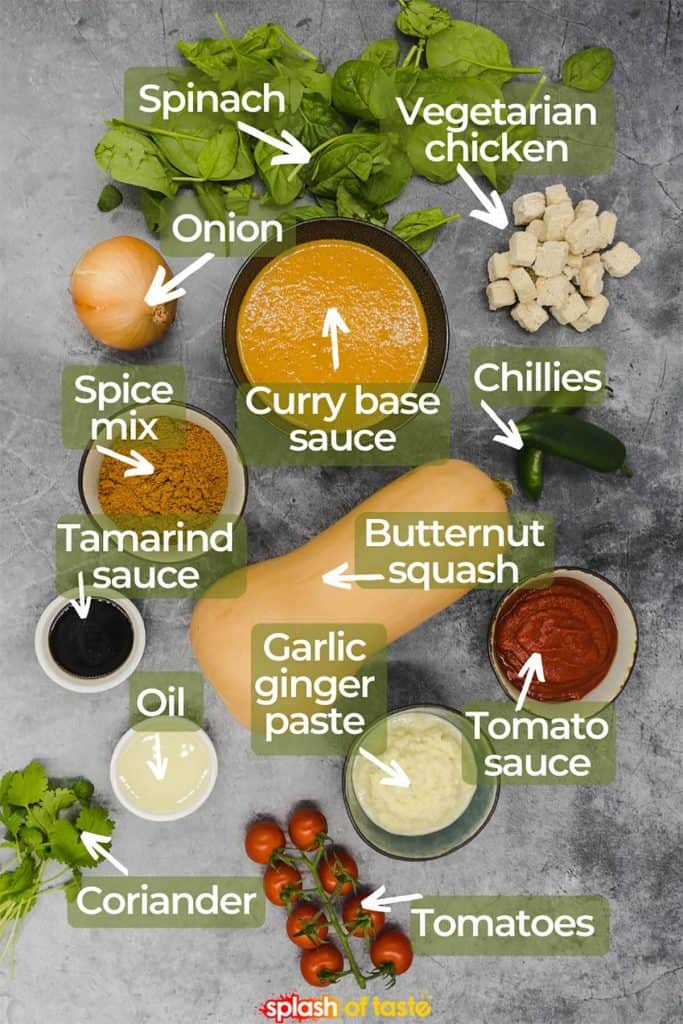 Ingredients for vegan vegetable bhuna curry